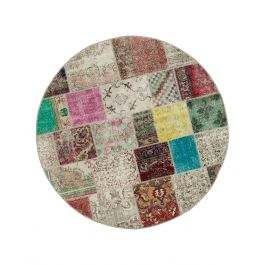 Hand-knotted Anatolian Multi Wool Round Patchwork Rug
