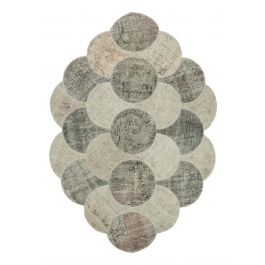 Hand-knotted Oriental Beige Large Round Patchwork Carpet