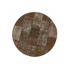 Hand-knotted Oriental Brown Large Round Patchwork Carpet
