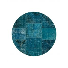 Hand-knotted Anatolian Turquoise Antique Round Patchwork Rug