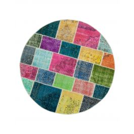 Handwoven Anatolian Multi Distressed Round Patchwork Rug