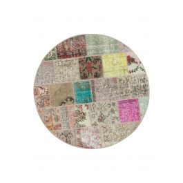 Handwoven Turkish Multi Over-dyed Round Patchwork Rug