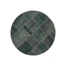 Hand-knotted Anatolian Grey Wool Round Patchwork Carpet
