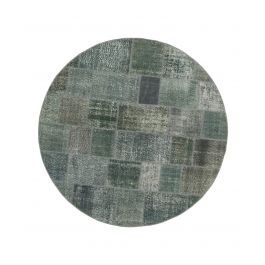 Hand-knotted Turkish Grey Overdyed Round Patchwork Carpet