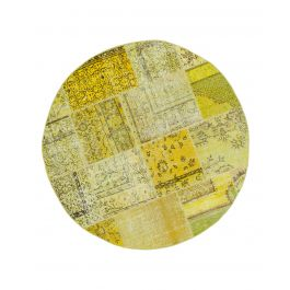 Handwoven Turkish Yellow Over-dyed Round Patchwork Rug