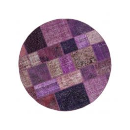 Hand-knotted Turkish Purple Colorful Round Patchwork Carpet