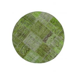 Hand-knotted Turkish Green Bohemian Round Patchwork Carpet