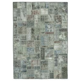 Hand-knotted Anatolian Grey Modern Design Patchwork Rug