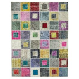 Hand-knotted Anatolian Multi Modern Design Patchwork Rug