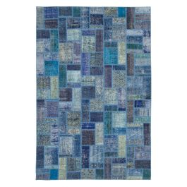 Hand-knotted Anatolian Blue Modern Design Patchwork Rug