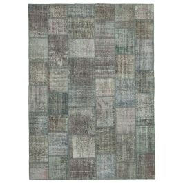 Handwoven Turkish Grey Over-dyed Large Patchwork Rug