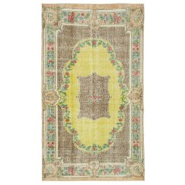 Hand-knotted Oriental Yellow Faded Vintage Carpet