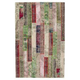 Hand-knotted Anatolian Red Modern Design Patchwork Carpet