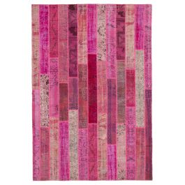 Hand-knotted Anatolian Pink Modern Design Patchwork Rug