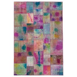 Hand-knotted Oriental Multi Faded Patchwork Carpet