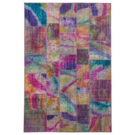 Hand-knotted Anatolian Multi Distressed Patchwork Carpet