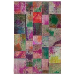 Hand-knotted Turkish Multi Contemporary Patchwork Carpet