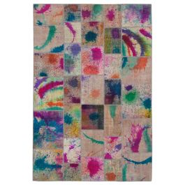 Handwoven Oriental Multi Overdyed Patchwork Rug