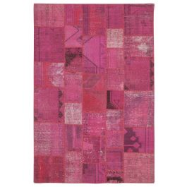 Hand-knotted Turkish Pink Bohemian Patchwork Carpet
