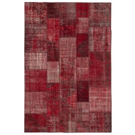 Hand-knotted Turkish Red Low Pile Patchwork Carpet