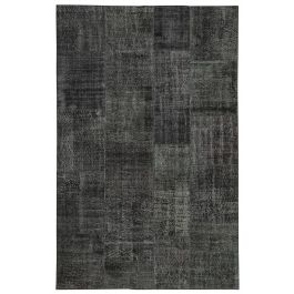 Hand-knotted Oriental Black Low Pile Patchwork Rug