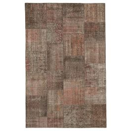 Handwoven Anatolian Brown Distressed Patchwork Carpet