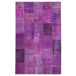 Hand-knotted Anatolian Purple Over-dyed Patchwork Rug