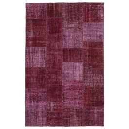 Handwoven Anatolian Red Colorful Patchwork Carpet