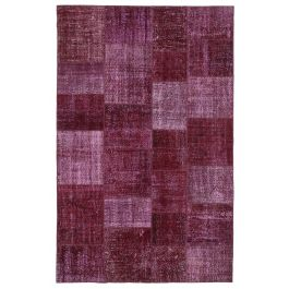 Hand-knotted Oriental Red Rustic Patchwork Carpet