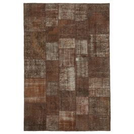Handmade Oriental Brown Over-dyed Patchwork Rug