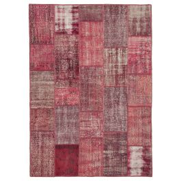 Hand-knotted Oriental Red Low Pile Patchwork Carpet