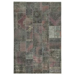 Hand-knotted Anatolian Grey Colorful Patchwork Carpet