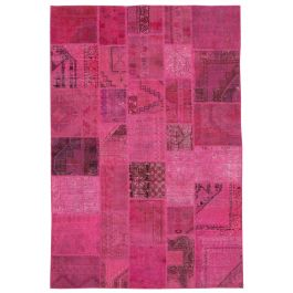 Hand-knotted Turkish Pink Unique Patchwork Rug