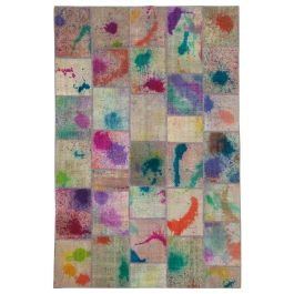 Hand-knotted Turkish Multi Over-dyed Patchwork Rug