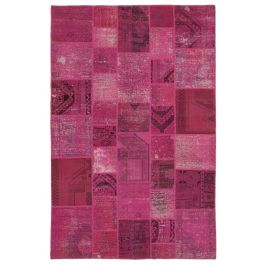 Hand-knotted Oriental Pink Decorative Patchwork Carpet