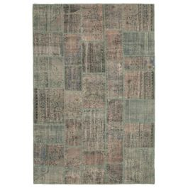 Hand-knotted Oriental Grey Low Pile Patchwork Carpet