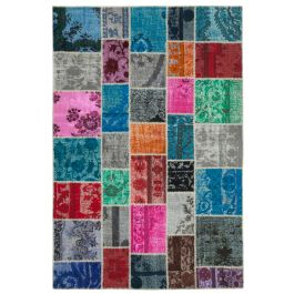 Hand-knotted Anatolian Multi Colorful Patchwork Carpet
