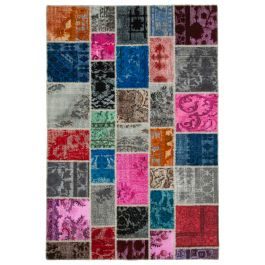 Hand-knotted Oriental Multi Low Pile Patchwork Rug