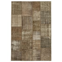 Hand-knotted Turkish Brown Faded Patchwork Carpet
