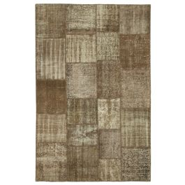 Handwoven Anatolian Brown Distressed Patchwork Rug