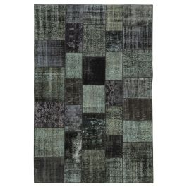Hand-knotted Turkish Black Traditional Patchwork Rug