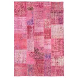 Hand-knotted Oriental Pink Rustic Patchwork Carpet