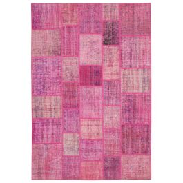 Handmade Turkish Pink One-of-a-Kind Patchwork Rug