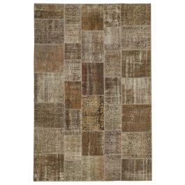 Hand-knotted Oriental Brown Decorative Patchwork Carpet