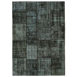 Hand-knotted Turkish Black Bohemian Patchwork Carpet