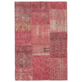 Handwoven Anatolian Red Wool Patchwork Rug