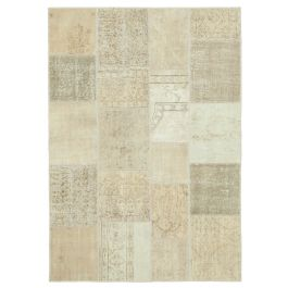 Hand-knotted Anatolian Beige Wool Patchwork Rug