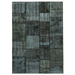 Hand-knotted Oriental Black Faded Patchwork Carpet