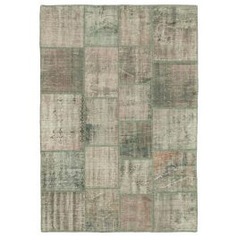 Hand-knotted Anatolian Grey Distressed Patchwork Carpet