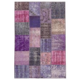 Hand-knotted Anatolian Purple Antique Patchwork Rug